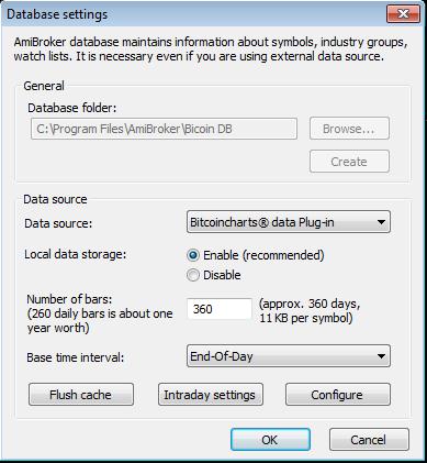 Eod Bitcoincharts database settings